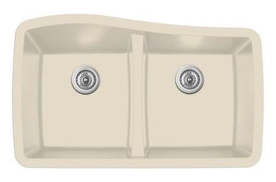 """Karran Double Equal Bowl Undermount Kitchen Sink Bisque Finish 33-1/2"""" x 20-1/2"""""""