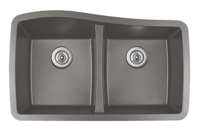 "Karran Double Equal Bowl Undermount Kitchen Sink Concrete Finish 33-1/2"" x 20-1/2"""