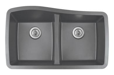 "Karran Double Equal Bowl Undermount Kitchen Sink Grey Finish 33-1/2"" x 20-1/2"""
