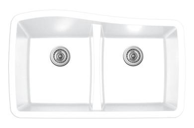 "Karran Double Equal Bowl Undermount Kitchen Sink White Finish 33-1/2"" x 20-1/2"""