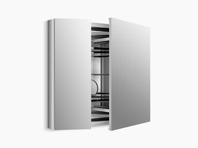 "Kohler Verdera® aluminum medicine cabinet with adjustable flip-out flat mirror, 34"" W x 30"" H"
