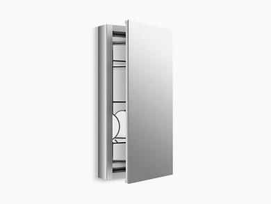 "Kohler Verdera® aluminum medicine cabinet with adjustable flip-out flat mirror, 15"" W x 30"" H"