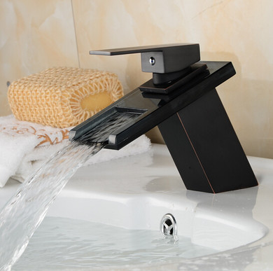 Square Single Hole Waterfall Faucet Oil Robbed Bronze