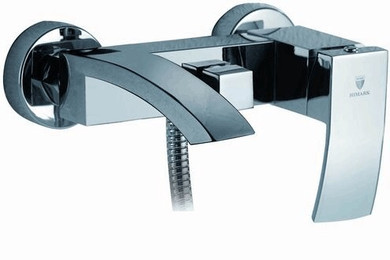 Royal Fall Wall Tub Faucet with Hand Shower Brushed Nickel