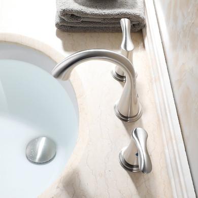 Dale  Widespread 8 Inch 3 Holes Double Handles Bathroom Faucet + Valve Nickel Finish