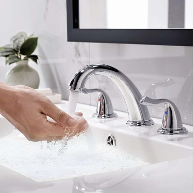 Boca Widespread 8 Inch 3 Holes Double Handles Bathroom Faucet + Valve Brushed Nickel Finish