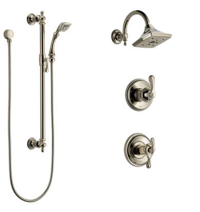 Brizo  Thermostatic Shower System with Rain Shower Head, Hand Shower with Slide Bar, and 3 Function Diverter from the Charlotte Collection