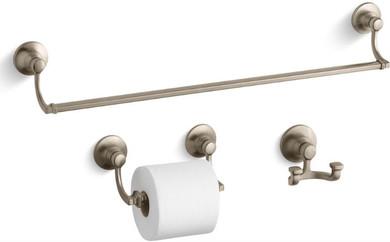 "Kohler Bancroft 24"" Towel Bar, Tissue Holder and Robe Hook"