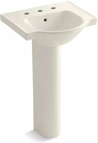 "Kohler Veer 21"" Pedestal Bathroom Sink with 8"" Widespread Faucet Holes and Overflow"