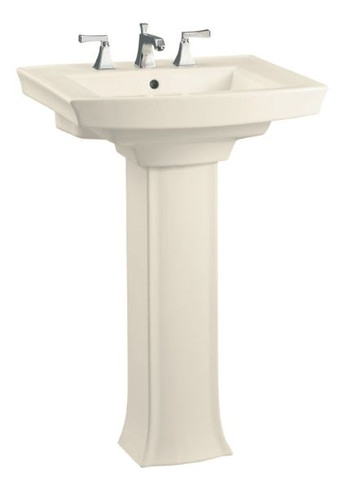 """Kohler 24"""" Centerset Vitreous China Pedestal Bathroom Sink with 3 Pre Drilled Faucet Holes from the Archer Collection"""