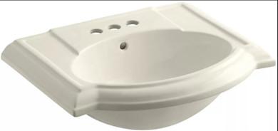 """Kohler Devonshire 24"""" Pedestal Bathroom Sink with 3 Holes Drilled and Overflow"""