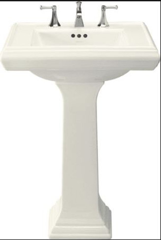 """Kohler 27"""" Widespread Fireclay Bathroom Sink with Overflow and 3 Pre Drilled Faucet Holes from the Memoirs Collection"""