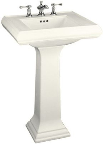 "Kohler Memoirs pedestal lavatory with 4"" centers"