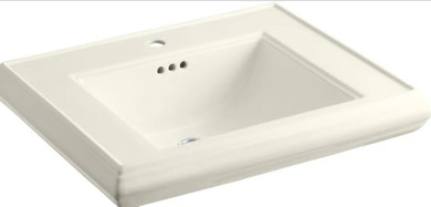"""Kohler Memoirs Classic 27"""" Fireclay Pedestal Bathroom Sink with 1 Hole Drilled and Overflow"""