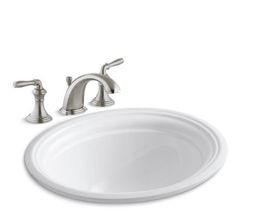 """Kohler Devonshire 16-7/8"""" Undermount Bathroom Sink with Overflow and Devonshire Widespread Bathroom Faucet with Pop-Up Drain Assembly"""