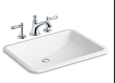 """Kohler Ladena 18-3/8"""" Undermount Bathroom Sink with Overflow and Artifacts Widespread Bathroom Faucet with Pop-Up Drain Assembly"""