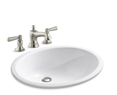 """Kohler Caxton 17"""" Undermount Bathroom Sink with Overflow and Bancroft Widespread Bathroom Faucet with Pop-Up Drain Assembly"""