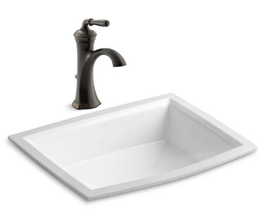 """Kohler Archer 17-5/8"""" Undermount Bathroom Sink with Overflow and Devonshire Single Hole Bathroom Faucet with Pop-Up Drain Assembly"""