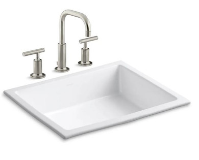 """Kohler Verticyl 17-1/4"""" Undermount Bathroom Sink with Overflow and Devonshire Single Hole Bathroom Faucet with Pop-Up Drain Assembly"""