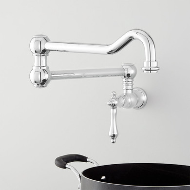 Signature Hardware Amberly 6 GPM Wall Mounted Single Handle Pot Filler Faucet with Brass Handle
