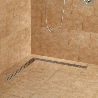 """Signature Hardware Loup 32"""" Linear Shower Drain with Flange"""
