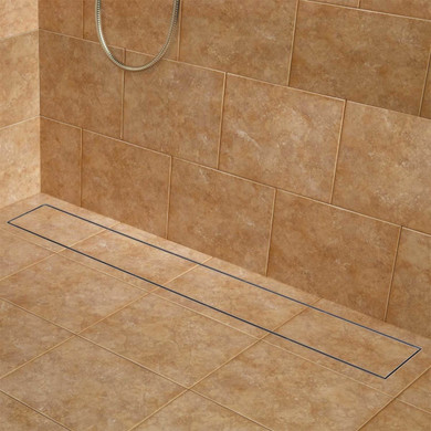 """Signature Hardware Cohen Wide 60"""" Linear Shower Drain with Flange"""