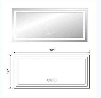 Star 71 x 32 in Horizontal Dimmable LED Bathroom Mirror with Anti-Fog, Dimmable and Bluetooth Function Vertical and Horizontal Mount