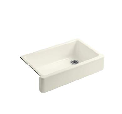 """Kohler Whitehaven 35-11/16"""" Farmhouse Undermount Self-Trimming Single Basin Apron Front Cast Iron Kitchen Sink"""