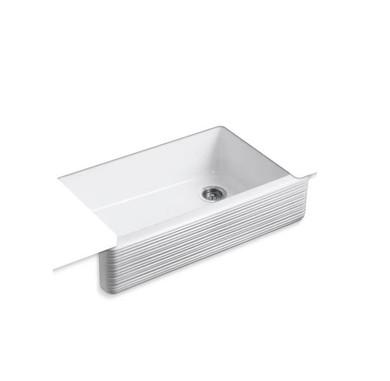 "Kohler Whitehaven 36"" Single Basin Farmhouse Cast Iron Kitchen Sink with Hayridge Design and Self-Trimming Apron"