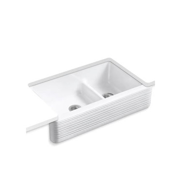 """Kohler Whitehaven 35-11/16"""" Double Basin Farmhouse Cast Iron Kitchen Sink with Self-Trimming Apron and SmartDivide"""