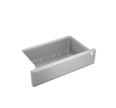"Kohler Cairn 35-11/16"" Farmhouse Single Basin Stone Composite Kitchen Sink with Basin Rack"
