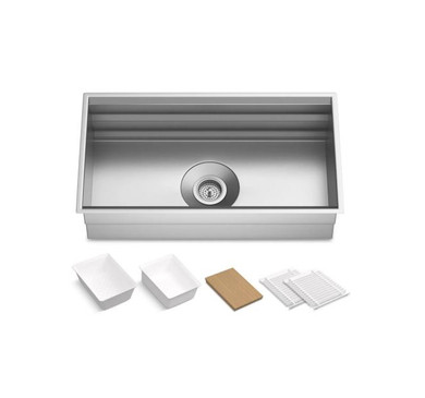 """Kohler Prolific 33"""" Workstation Single Basin Undermount Kitchen Sink with Silent Shield Technology and Accessories Included"""