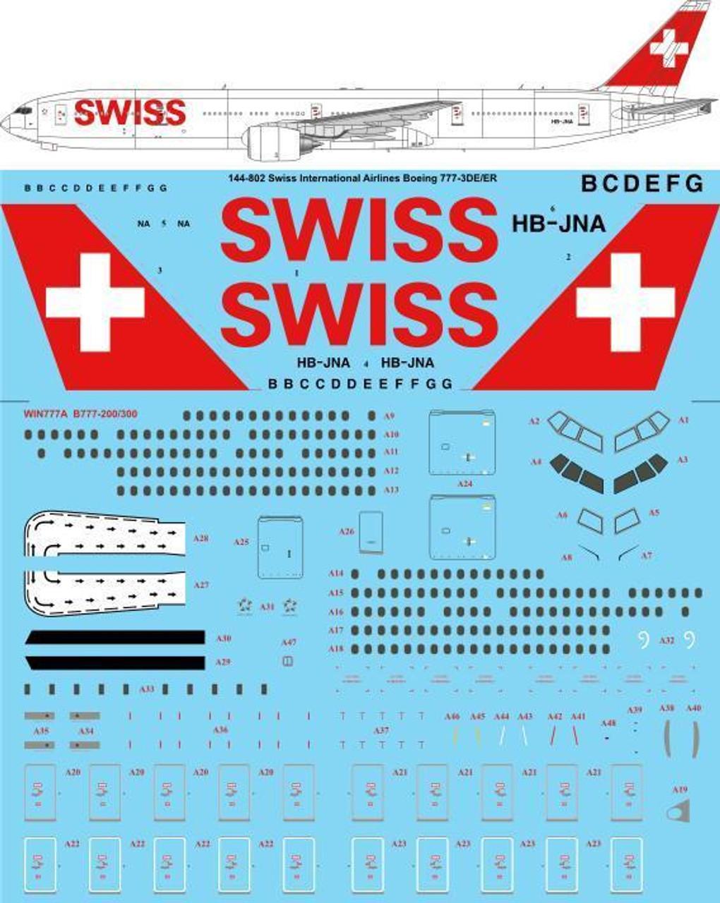 Swiss International Air Lines Laser Decal 26Decals 1//144 Boeing 777-300ER