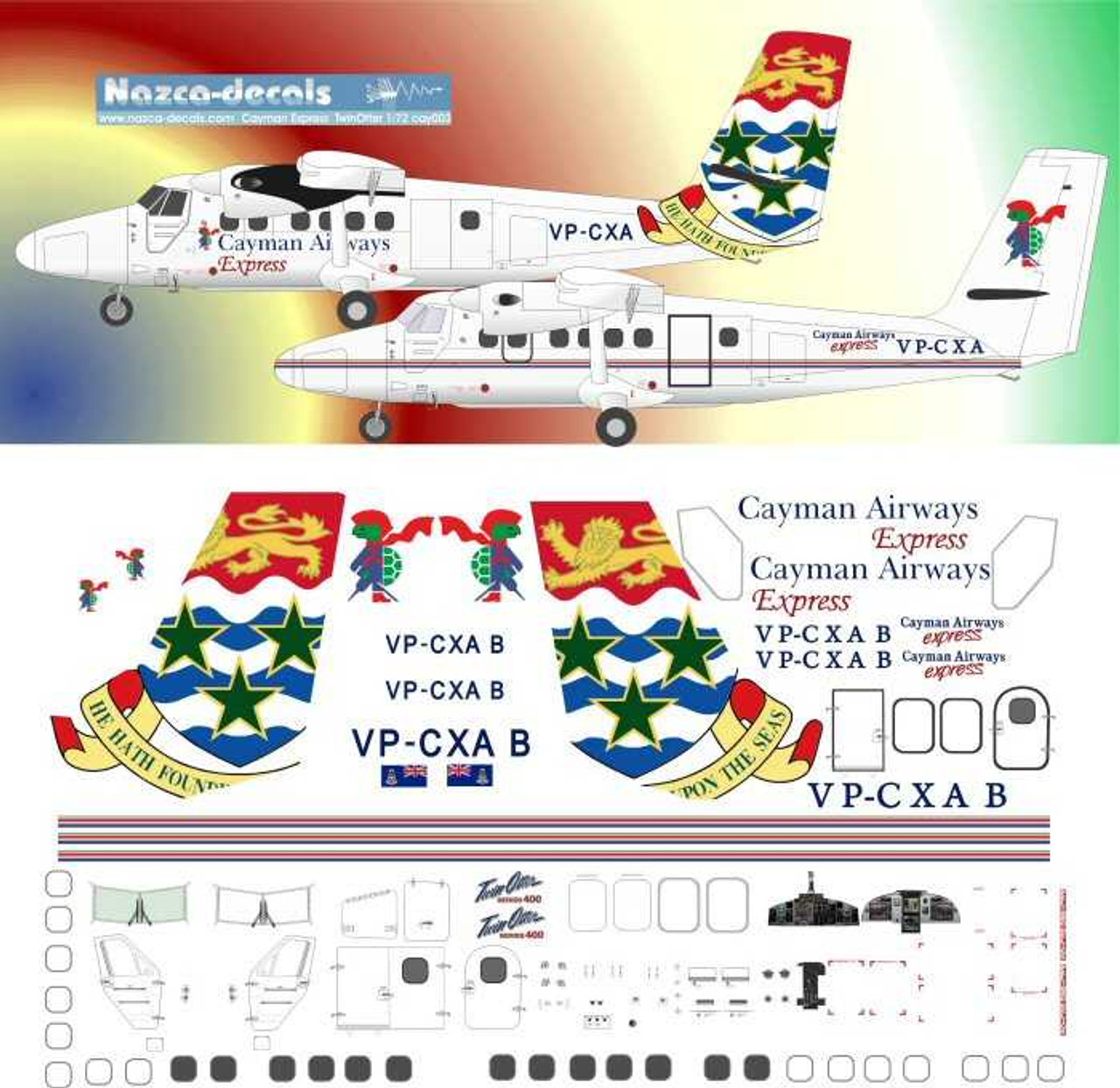 1 144 Scale Decal Cayman Airways Express Dhc 6 Twin Otter Joydecals Com