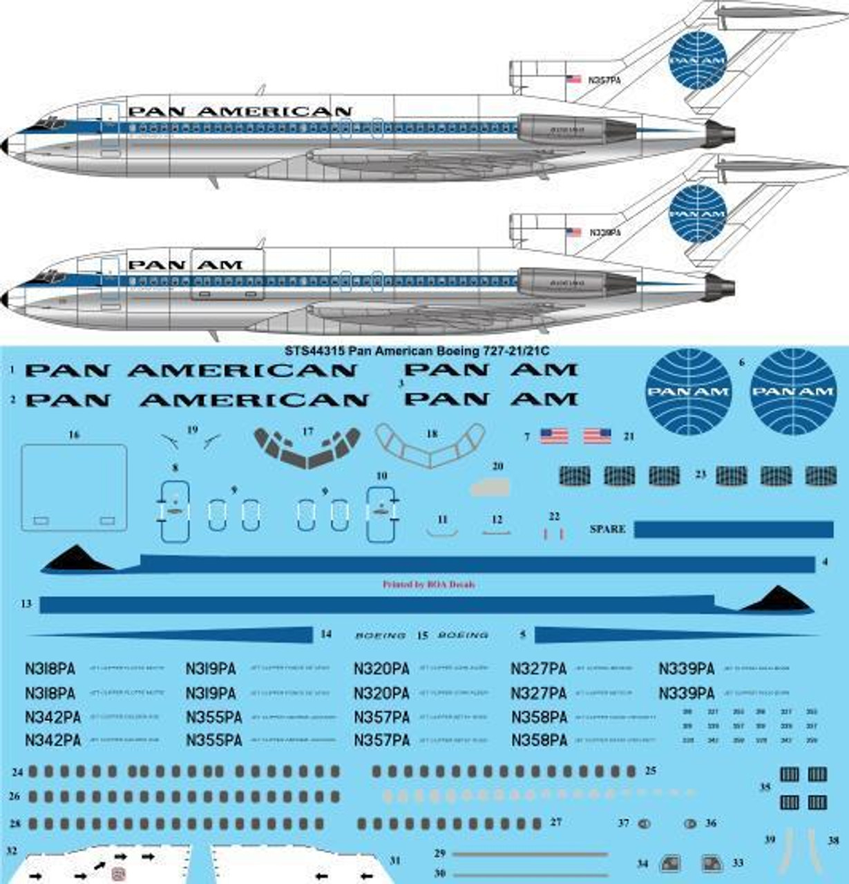 Boeing 727-200 Pan Am 1\100 decal