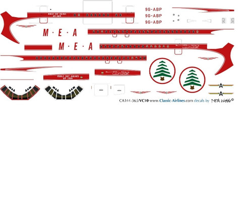 1/144 Scale Decal MEA VC-10