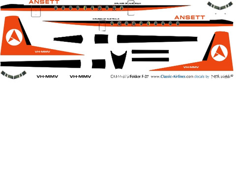 1/144 Scale Decal Ansett F-27 Orange Tail