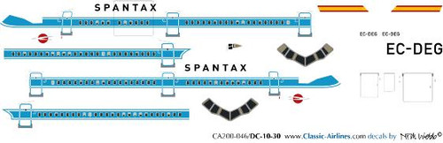 1/200 Scale Decal Spantax DC10-30