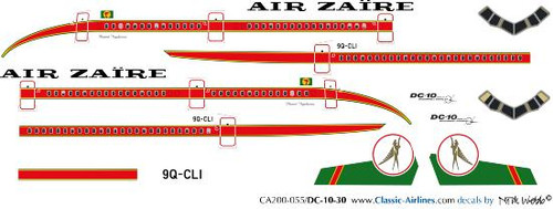 1/200 Scale Decal Air Zaire DC10-30