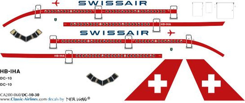 1/200 Scale Decal Swissair DC10-30