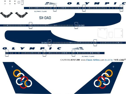 1/200 Scale Decal Olympic 747-200 Delivery
