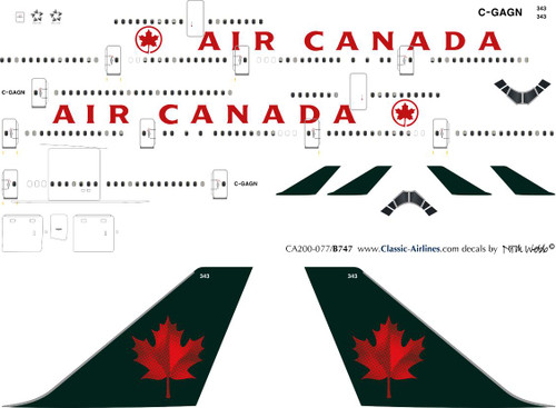 1/200 Scale Decal Air Canada 747-400 Green Tail