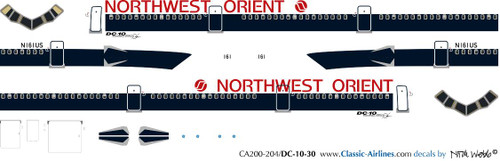 1/200 Scale Decal Northwest Orient DC10-30