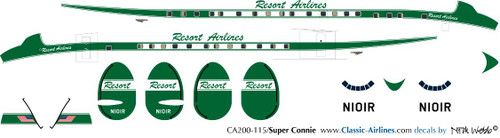1/200 Scale Decal Resort Airlines Super Constellation