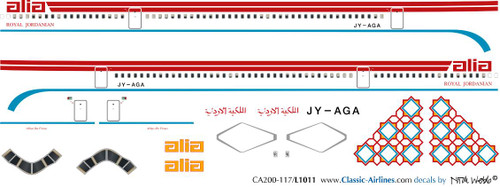 1/200 Scale Decal Alia Royal Jordanian L-1011