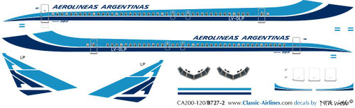 1/200 Scale Decal Aerolineas Argentinas 727-200 Delivery