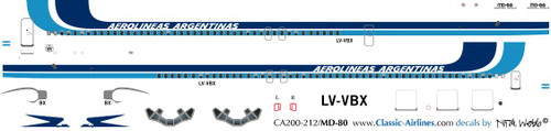 1/200 Scale Decal Aerolineas Argentinas MD-80