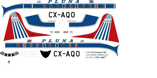1/96 Scale Decal Pluna Viscount 700