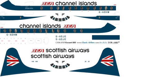1/96 Scale Decal BEA Speekjack / Channel Islands Viscount 800