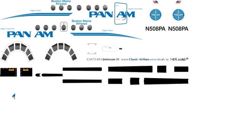 1/72 Scale Decal Pan Am / Boston-Maine Airways Jetstream 31